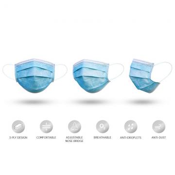 Jednokratna troslojna maska za zaštitu lica (50 komada)