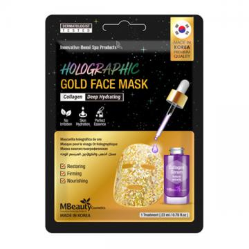 MBeauty Cosmetics Holographic Gold Face Mask maska za lice u zlatnoj hologramskoj foliji za intenzivnu hidrataciju 23ml